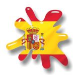 New SPLAT Design With Spain Spanish Flag Motif External Vinyl Car Sticker 110x110mm